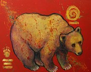 Brown Bear Paintings - Bear Paw Grizzly Bear by Carol Suzanne Niebuhr
