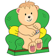 Cartoonist Posters - Bear Sat in Armchair Cartoon Poster by Toots Hallam