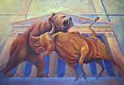 Stock Market Painting Posters - Bear vs Bull Poster by Rob Corsetti
