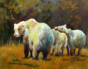 Bear Paintings - Bear with Cubs by Carolyn Jarvis