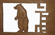 Log Cabin Sculptures - Bear With Me My Friend by Robert Margetts