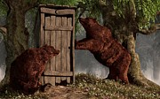 Rustic Art Prints - Bears Around The Outhouse Print by Daniel Eskridge