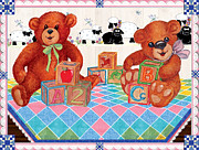 Quilt Blue Blocks Prints - Bears Blocks and Baby Print by Sher Sester