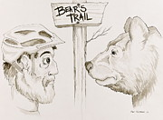 Biking Drawings Posters - Bears Trail Poster by Evan Chismark