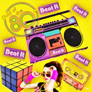 80s Digital Art Prints - Beat it Print by Mo T
