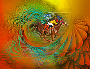 Jockey Digital Art - Beating the Equation  by Betsy A Cutler East Coast Barrier Islands
