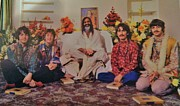 Rock Stars Mixed Media Posters - BEATLES and the MAHARISHI  1965 Poster by Gunter  Hortz