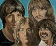 George Harrison Paintings - Beatles The Fab Four by Melinda Saminski