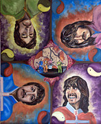 Sgt Pepper Painting Framed Prints - Beatles Universe Framed Print by Linda Riesenberg Fisler