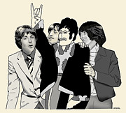 Beatles Digital Art - Beatles with Cutout John by Joseph Juvenal