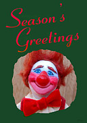 Clown Sculpture Posters - Beau - Seasons Greetings Poster by David Wiles