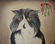 Persian Cat Paintings - Beau with Mistletoe by Victoria Lakes