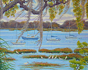 South Carolina Low Country Marsh Paintings - Beaufort Anchorage by Dwain Ray