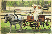 Cart Driving Posters - Beauties In A Cart Poster by Alice Gipson