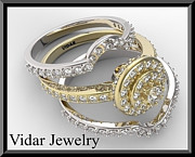 14k Jewelry - Beautiful 14k Yellow And White Gold Diamond Wedding Ring Set by Roi Avidar