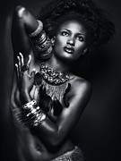 Bracelets Framed Prints - Beautiful African American Woman Wearing Jewelry Framed Print by Oleksiy Maksymenko
