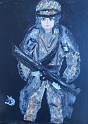 Rifle Painting Originals - Beautiful and Brave- Americas New Hero  by Marie Bulger