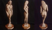 Sculpture Classes Prints - Beautiful and Naked - Wood Sculpture of Nude Woman Print by Carlos Baez Barrueto