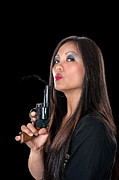 Female Spy Framed Prints - Beautiful Asian woman with gun Framed Print by Joe Belanger