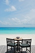 Snack Bar Art - Beautiful beach bar view in Maldives by Luis Santos