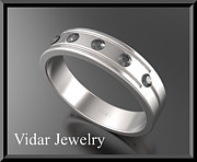 Black Ring Jewelry Originals - Beautiful Black diamond 14k White Gold Mens Wedding Ring by Roi Avidar