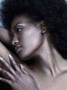Beauty-treatment Prints - Beautiful black woman face with shiny silver skin Print by Oleksiy Maksymenko