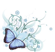 Copy Space Mixed Media Prints - Beautiful blue butterfly background Print by Christos Georghiou