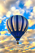 White Wicker Posters - Beautiful Blue Hot Air Balloon Poster by Robert Bales