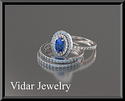 14k Jewelry - Beautiful Blue Sapphir And Diamonds 14k White Gold Wedding Ring Set by Roi Avidar