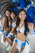 Smiling Prints - Beautiful Brazilian women in Carnivale costumes Print by David Smith