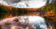 Aderondack Posters - Beautiful Cary Lake in Autumn Poster by David Patterson