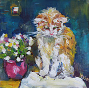 Portrait With Still Life Framed Prints - Beautiful Cat Dohchi Framed Print by Becky Kim