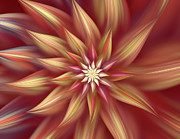 Asymmetrical Digital Art Prints - Beautiful Dahlia Abstract Print by Zeana Romanovna