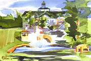 Beautiful Day Posters - Beautiful Day at the Baptist Home of the Ozarks in Watercolor Poster by Kip DeVore