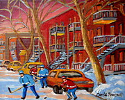 Kids Playing Hockey Paintings - Beautiful Day For Hockey by Carole Spandau