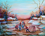 Hockey Art Paintings - Beautiful Day For Pond Hockey Winter Landscape Painting  by Carole Spandau