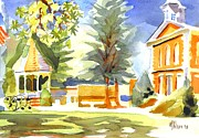 Greens Paintings - Beautiful Day on the Courthouse Square by Kip DeVore