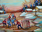 Winter Sports Paintings - Beautiful Day-pond Hockey-hockey Game-canadian Landscape-winter Scenes-carole Spandau by Carole Spandau