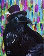 Bright Feathers Posters - Beautiful Dreamer Black Raven Crow 8x10 mixed media by Jaime Haney Poster by Jaime Haney