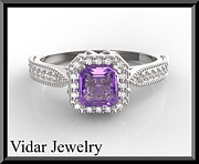 Featured Jewelry - Beautiful Emerald Cut Purple Amethyst And Diamond Engagement Ring by Roi Avidar