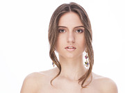 Hair Jewelry Metal Prints - Beautiful Female With Earrings Metal Print by Anastasia Yadovina