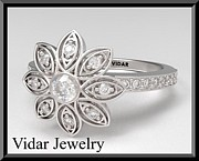 Featured Jewelry - Beautiful Flower Diamond 14k White Gold Engagement Ring by Roi Avidar