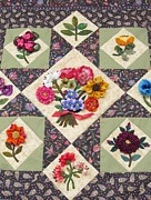 Quilts Photos - Beautiful Flower Quilt by Donna Wilson
