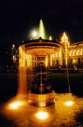 John Malone Halifax Artist Posters - Beautiful Fountain at Night Poster by John Malone
