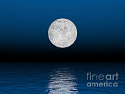 Three Dimensional Posters - Beautiful Full Moon Against A Deep Blue Poster by Elena Duvernay