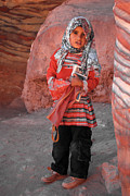 Kaufman Digital Art Acrylic Prints - Beautiful Girl at Petra Jordan Acrylic Print by Eva Kaufman