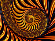 Colorful Fractal Art Art - Beautiful golden fractal spiral artwork  by Matthias Hauser