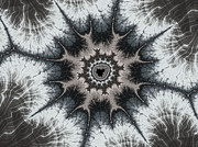 Meditative Digital Art - Beautiful grey silver and beige fractal by Matthias Hauser