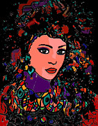 Black Background Mixed Media - Beautiful Gypsy by Natalie Holland