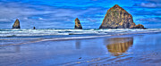 Ocean Scenes Framed Prints - Beautiful Haystack Rock and the Needles Framed Print by David Patterson